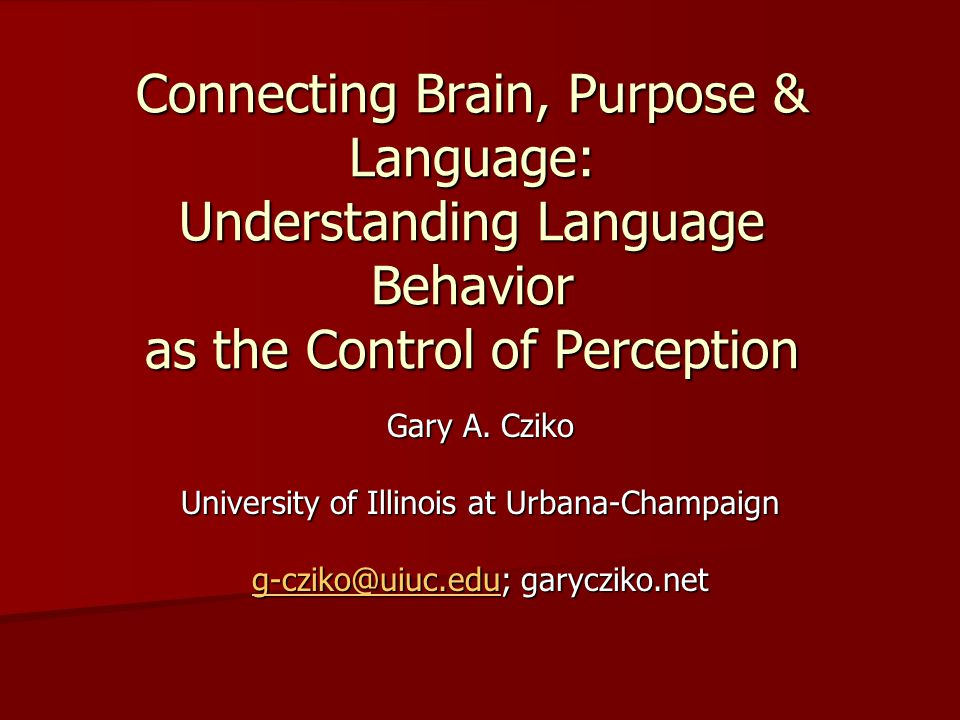 Characteristics of Perceptual Control Provides a model of purposeful (intentional) behavior Provides a model of purposeful (intentional) behavior –Internal reference level (goal, purpose, objective, intention) essential Perception (stimulus) affects behavior (response) AND behavior affects perception Perception (stimulus) affects behavior (response) AND behavior affects perception –Circular rather than lineal (one-way) causation Perceptual control shown by LOW correlation between perception (input) and behavior (output) Perceptual control shown by LOW correlation between perception (input) and behavior (output) –Test of the controlled variable Behavior understood as a means of controlling perception Behavior understood as a means of controlling perception –Not vice versa as in both behaviorism(S -> R) & cognitive psychology (S -> O -> R) –No clear independent or dependent variable –Circular not straight line (lineal) causality