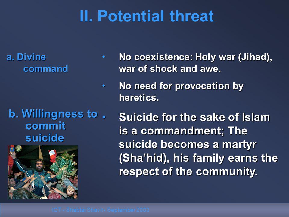 ICT - Shabtai Shavit - September 2003 II. Potential threat No coexistence: Holy war (Jihad), war of shock and awe.No coexistence: Holy war (Jihad), wa