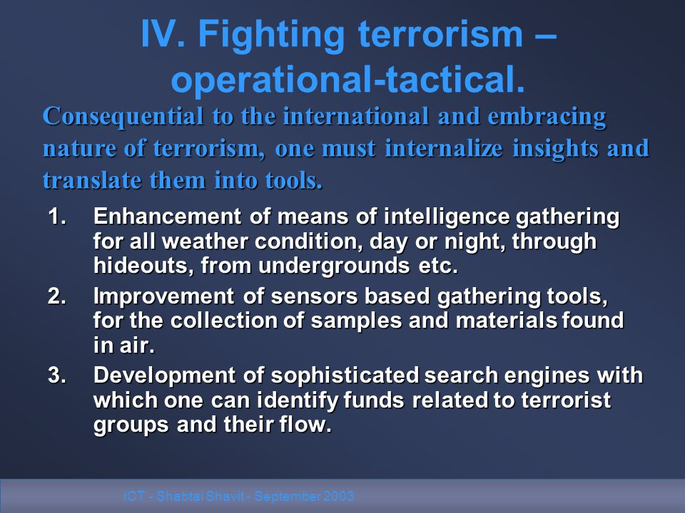 ICT - Shabtai Shavit - September 2003 IV. Fighting terrorism – operational-tactical.