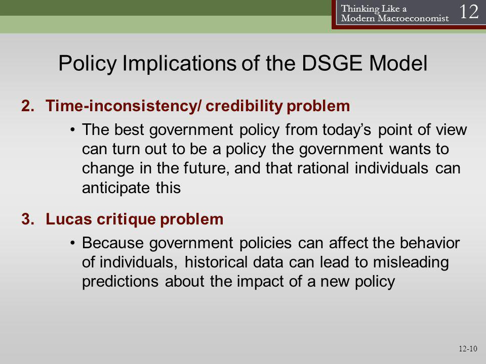 Thinking Like a Modern Macroeconomist 12 Policy Implications of the DSGE Model 2.Time-inconsistency/ credibility problem The best government policy fr