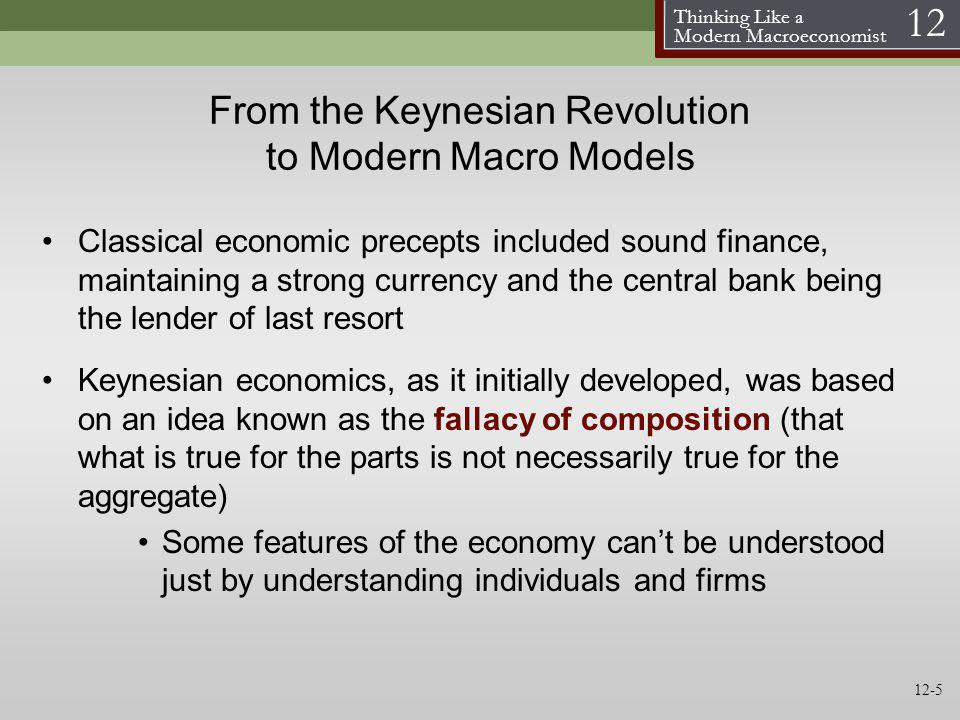 Thinking Like a Modern Macroeconomist 12 From the Keynesian Revolution to Modern Macro Models Classical economic precepts included sound finance, main