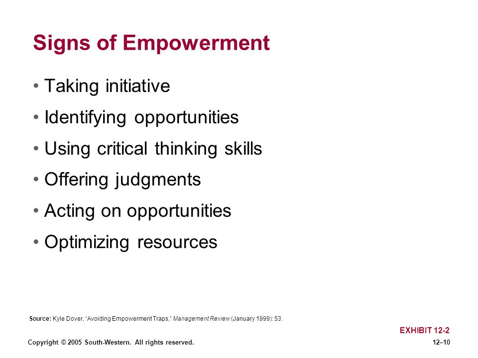 Copyright © 2005 South-Western. All rights reserved.12–10 Signs of Empowerment Taking initiative Identifying opportunities Using critical thinking ski