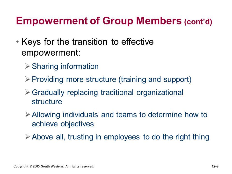 Copyright © 2005 South-Western. All rights reserved.12–9 Empowerment of Group Members (contd) Keys for the transition to effective empowerment: Sharin