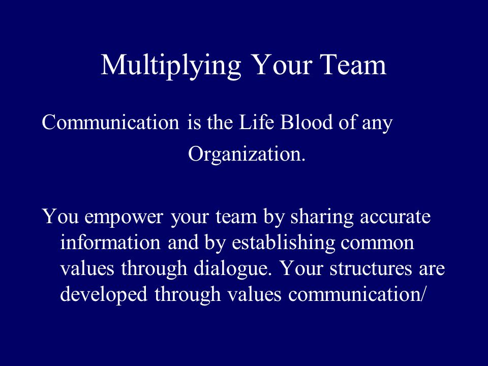 Multiplying Your Team Communication is the Life Blood of any Organization. You empower your team by sharing accurate information and by establishing c
