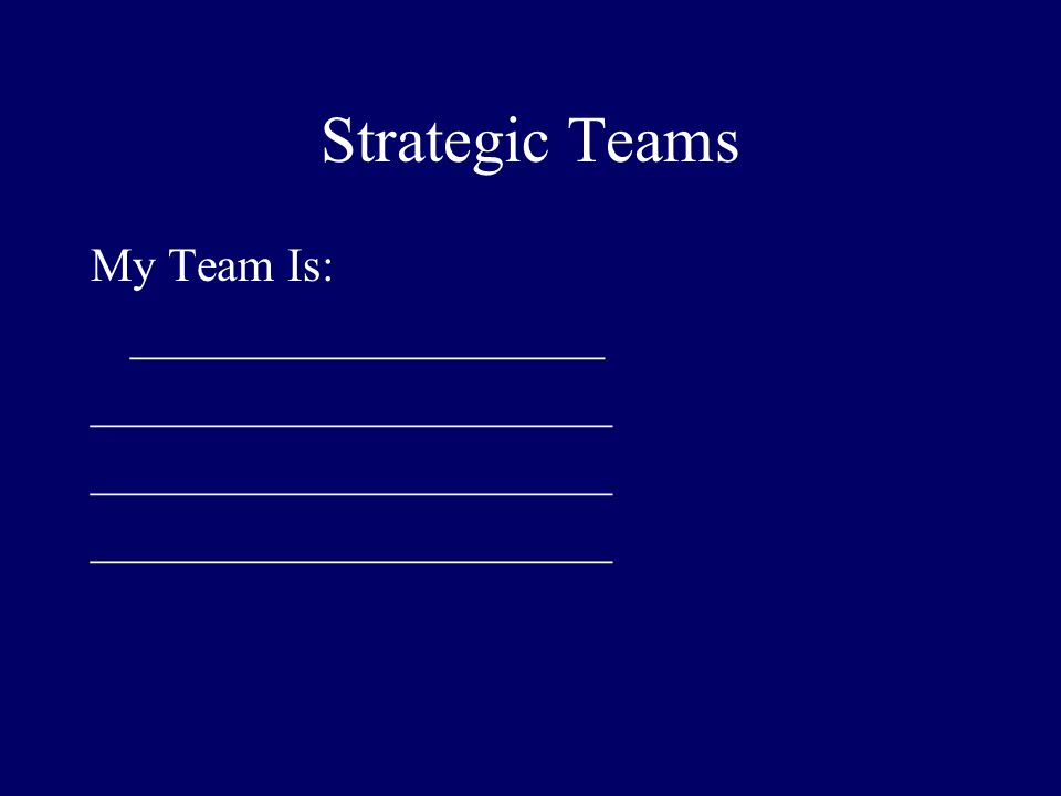 Strategic Teams My Team Is: ____________________ ______________________