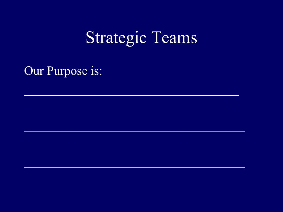 Strategic Teams Our Purpose is: __________________________________ ___________________________________