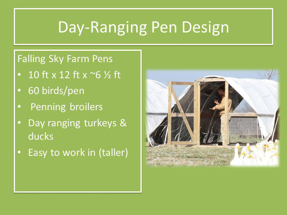 Day Ranging Pen Design Birds allowed outside pen More foraging – Insects & plants – Less trampling Manure spread more Still move daily – More freedom Electric Poultry Netting – Has to be moved too Birds allowed outside pen More foraging – Insects & plants – Less trampling Manure spread more Still move daily – More freedom Electric Poultry Netting – Has to be moved too Cattle Panel Pen