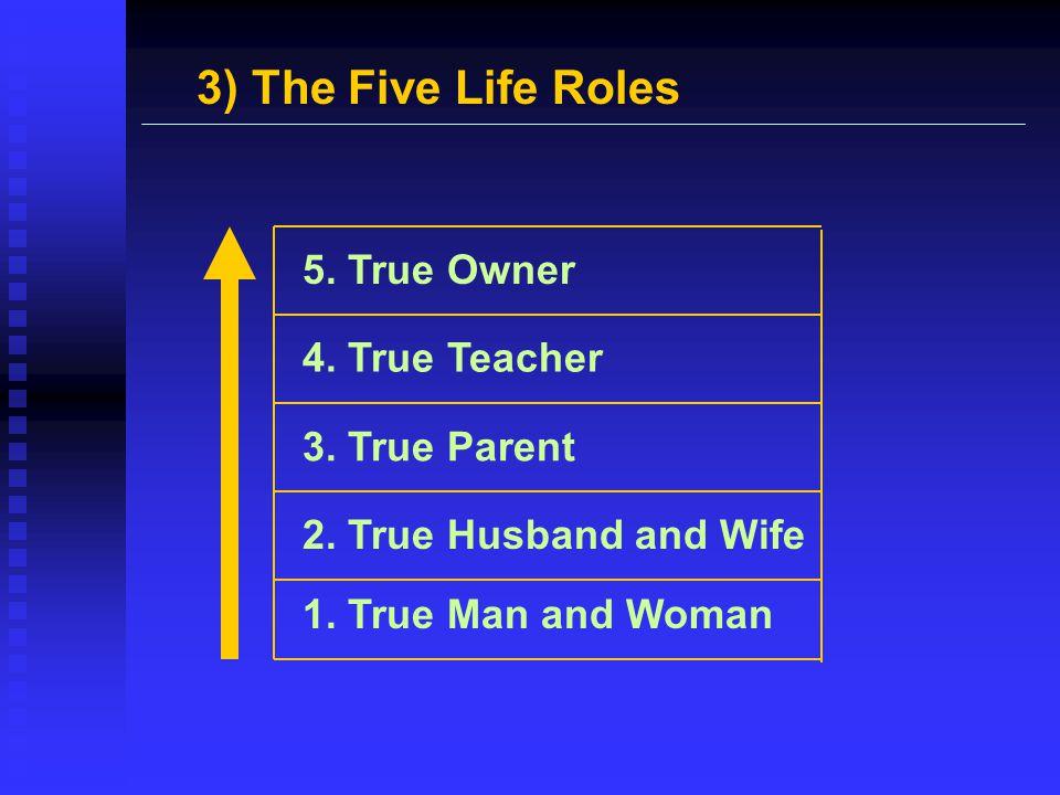 3) The Five Life Roles 1. True Man and Woman 2. True Husband and Wife 3. True Parent 4. True Teacher 5. True Owner
