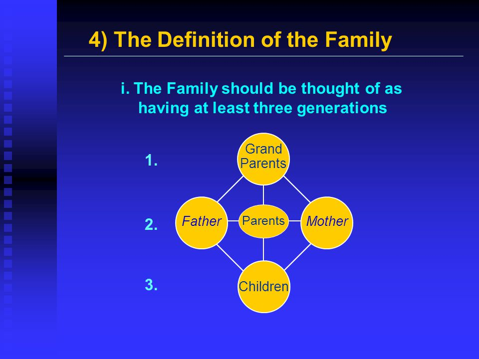 4) The Definition of the Family Grand Parents Children Father Mother Parents i. The Family should be thought of as having at least three generations 1