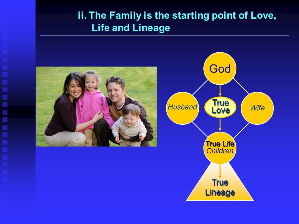 True Love God True Life True Life Children True Lineage Husband Wife ii. The Family is the starting point of Love, Life and Lineage