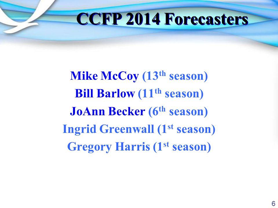 6 CCFP 2014 Forecasters Mike McCoy (13 th season) Bill Barlow (11 th season) JoAnn Becker (6 th season) Ingrid Greenwall (1 st season) Gregory Harris (1 st season)