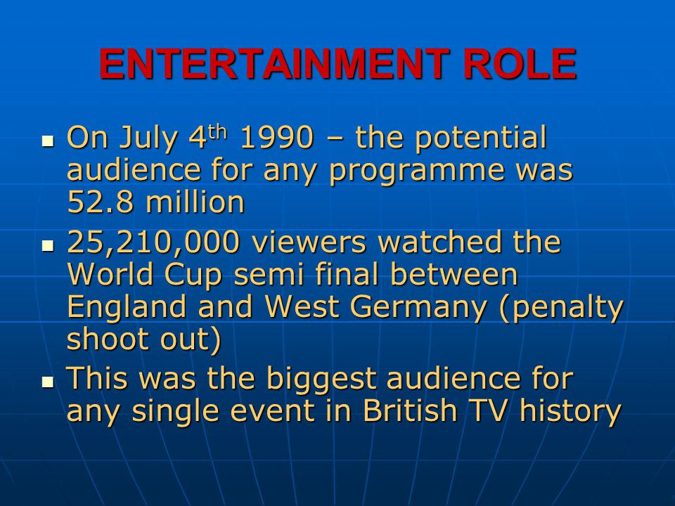 ENTERTAINMENT ROLE On July 4 th 1990 – the potential audience for any programme was 52.8 million On July 4 th 1990 – the potential audience for any pr