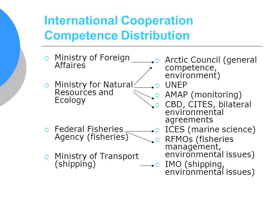 International Cooperation Competence Distribution Ministry of Foreign Affaires Ministry for Natural Resources and Ecology Federal Fisheries Agency (fi
