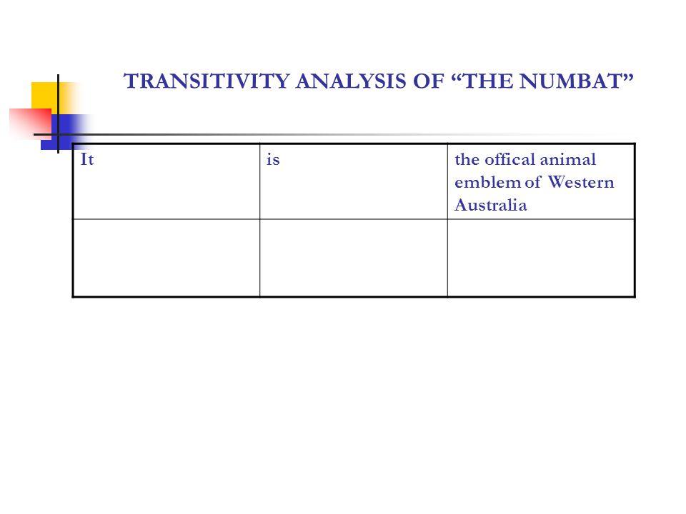 TRANSITIVITY ANALYSIS OF THE NUMBAT Itisthe offical animal emblem of Western Australia