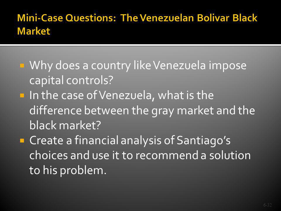 Why does a country like Venezuela impose capital controls? In the case of Venezuela, what is the difference between the gray market and the black mark