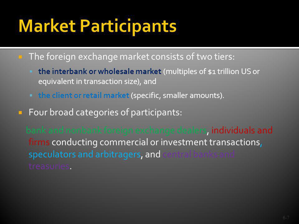 Banks and a few nonbank foreign exchange dealers operate in both the interbank and client markets.