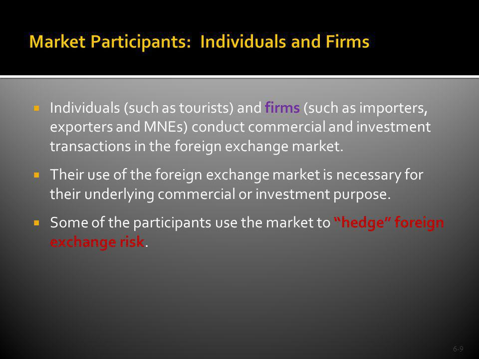 Individuals (such as tourists) and firms (such as importers, exporters and MNEs) conduct commercial and investment transactions in the foreign exchang