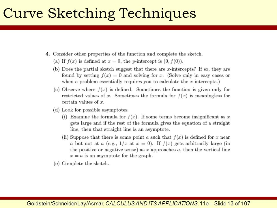 Goldstein/Schneider/Lay/Asmar, CALCULUS AND ITS APPLICATIONS, 11e – Slide 13 of 107 Curve Sketching Techniques