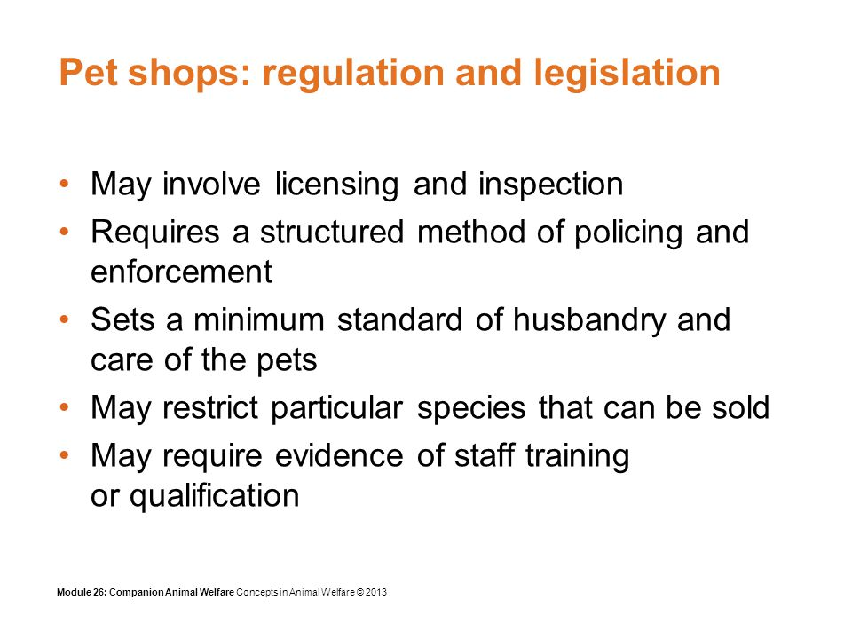 Module 26: Companion Animal Welfare Concepts in Animal Welfare © 2013 Pet shops: regulation and legislation May involve licensing and inspection Requires a structured method of policing and enforcement Sets a minimum standard of husbandry and care of the pets May restrict particular species that can be sold May require evidence of staff training or qualification