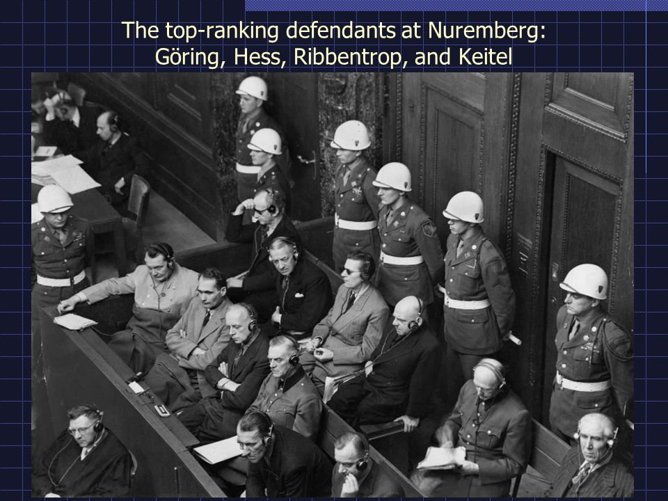 The top-ranking defendants at Nuremberg: Göring, Hess, Ribbentrop, and Keitel