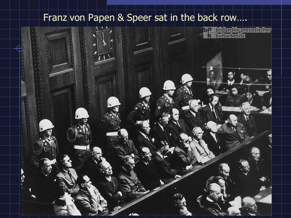 Franz von Papen & Speer sat in the back row….