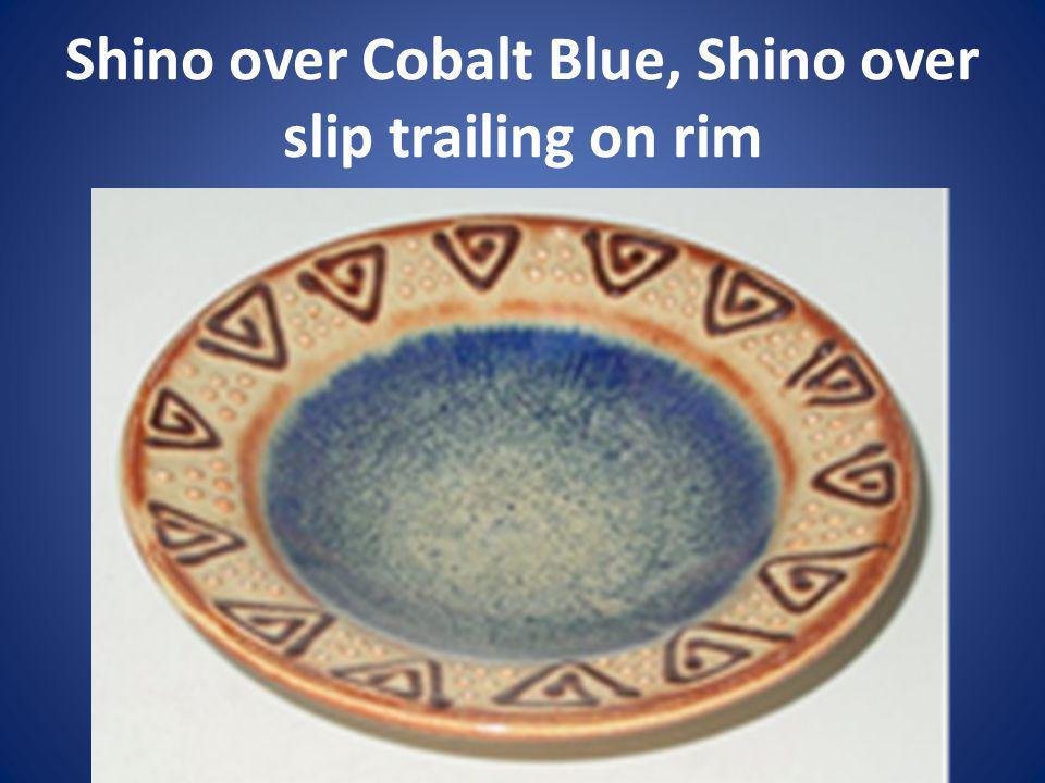 Shino over Cobalt Blue, Shino over slip trailing on rim