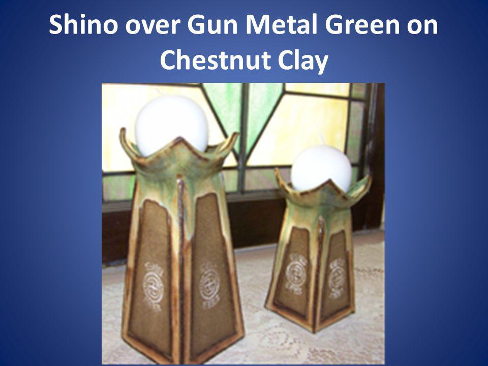 Shino over Gun Metal Green on Chestnut Clay