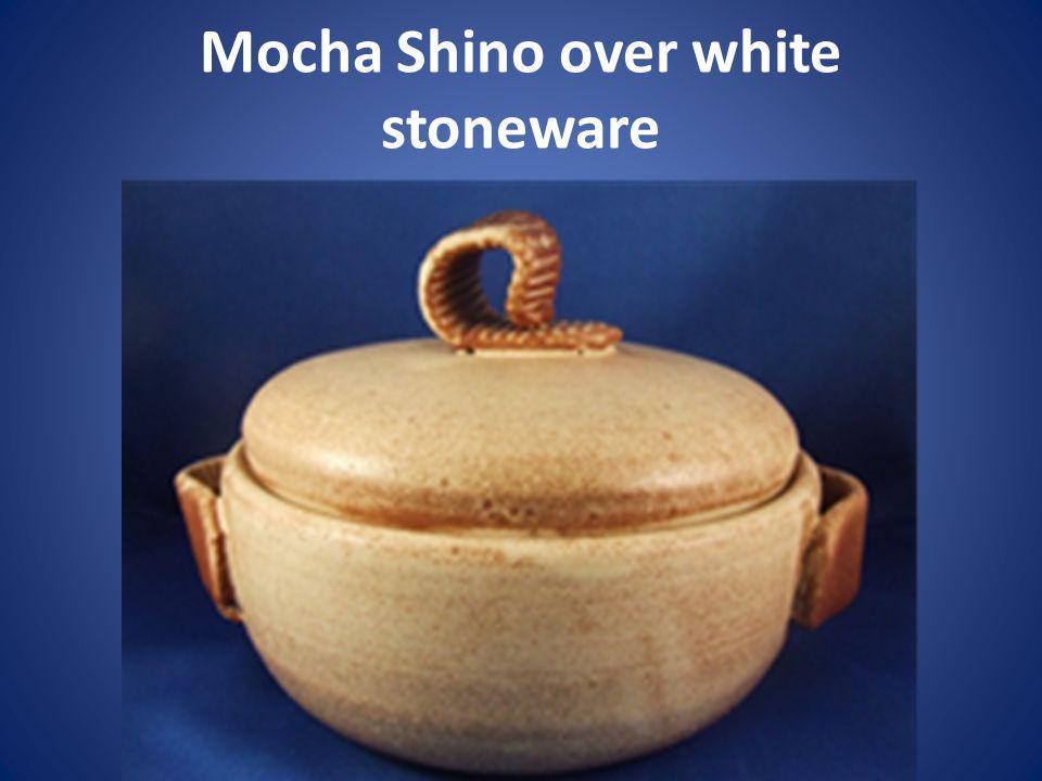 Mocha Shino over white stoneware