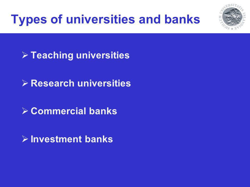Types of universities and banks Teaching universities Research universities Commercial banks Investment banks