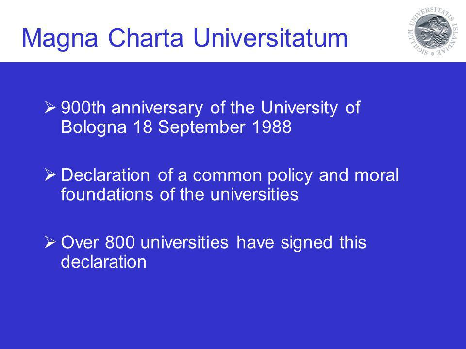 Magna Charta Universitatum 900th anniversary of the University of Bologna 18 September 1988 Declaration of a common policy and moral foundations of the universities Over 800 universities have signed this declaration