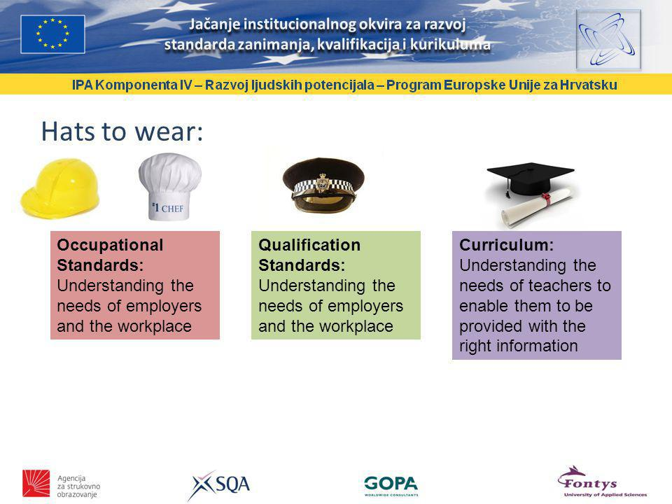 Hats to wear: Occupational Standards: Understanding the needs of employers and the workplace Qualification Standards: Understanding the needs of employers and the workplace Curriculum: Understanding the needs of teachers to enable them to be provided with the right information