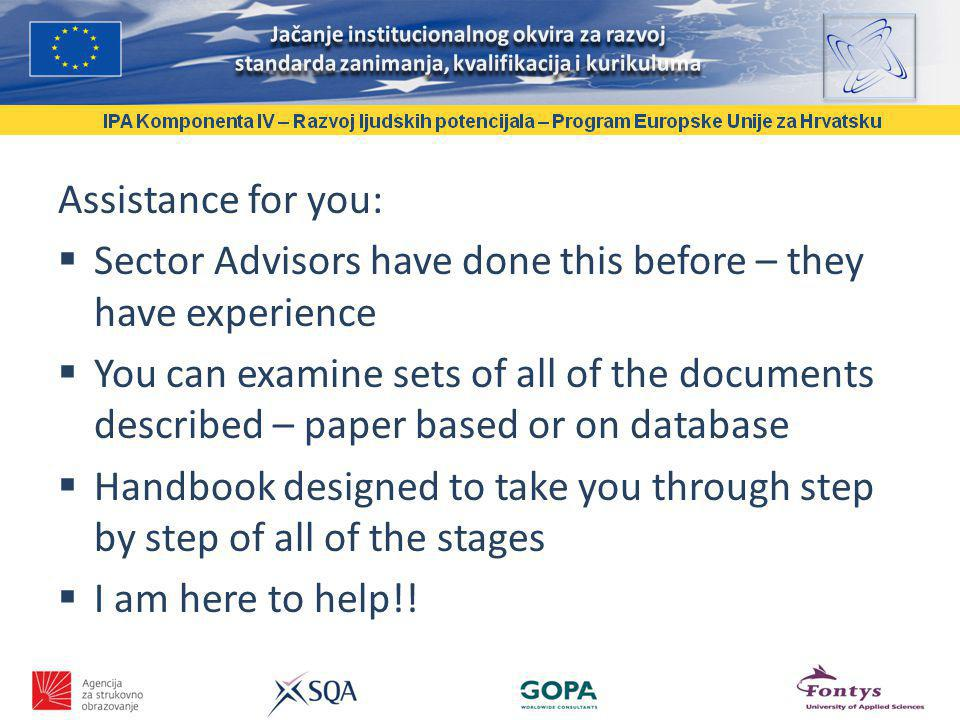 Assistance for you: Sector Advisors have done this before – they have experience You can examine sets of all of the documents described – paper based or on database Handbook designed to take you through step by step of all of the stages I am here to help!!