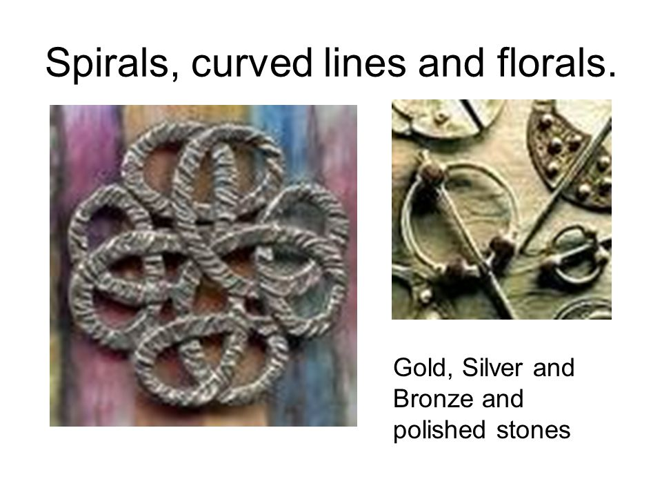 Spirals, curved lines and florals. Gold, Silver and Bronze and polished stones