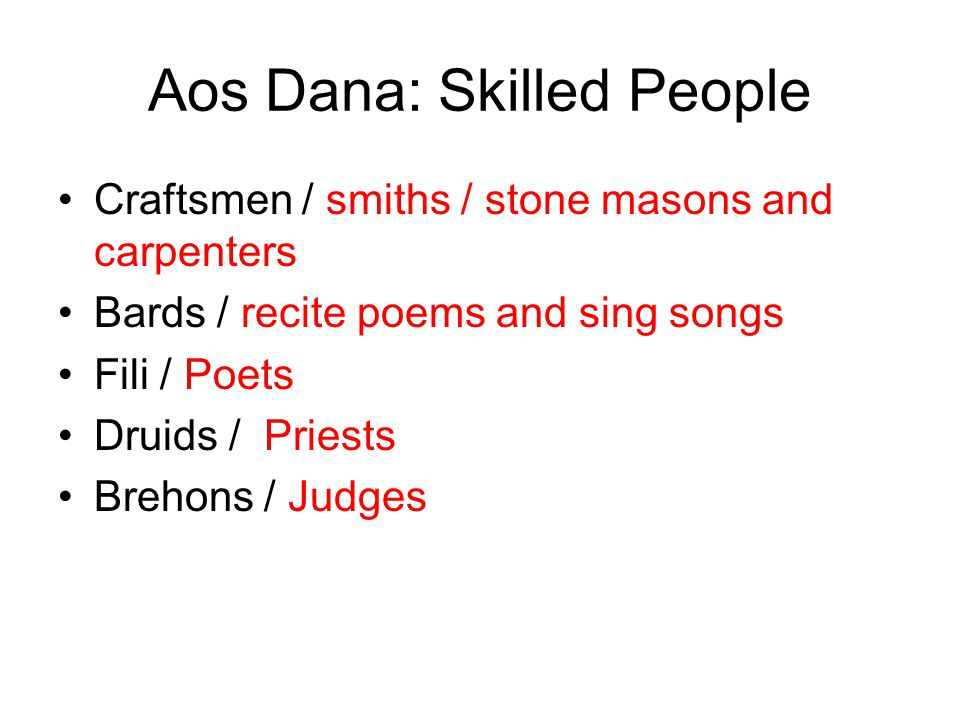 Aos Dana: Skilled People Craftsmen / smiths / stone masons and carpenters Bards / recite poems and sing songs Fili / Poets Druids / Priests Brehons / Judges
