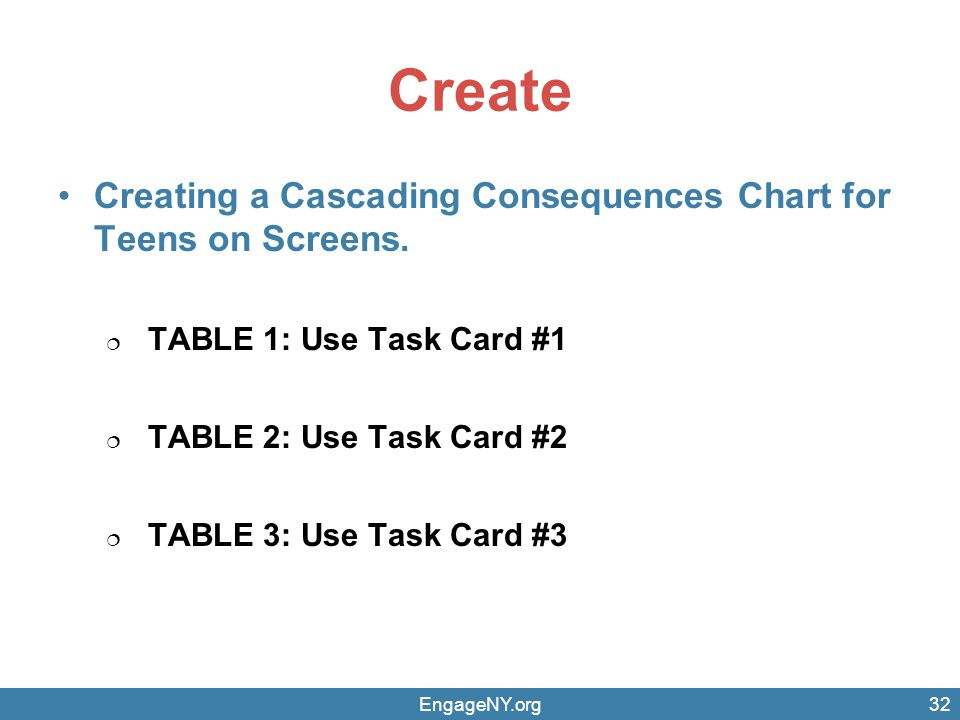 Create Creating a Cascading Consequences Chart for Teens on Screens. TABLE 1: Use Task Card #1 TABLE 2: Use Task Card #2 TABLE 3: Use Task Card #3 Eng