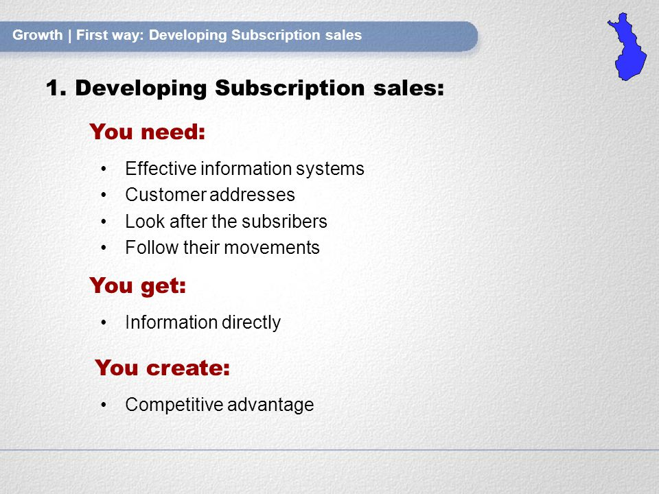 Growth | First way: Developing Subscription sales 1.