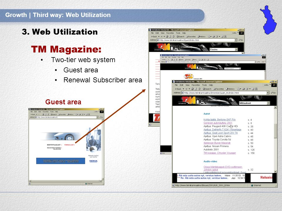 Growth | Third way: Web Utilization TM Magazine: Two-tier web system Guest area Renewal Subscriber area Guest area 3.