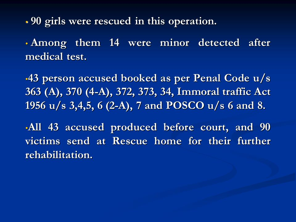 90 girls were rescued in this operation. 90 girls were rescued in this operation. Among them 14 were minor detected after medical test. Among them 14