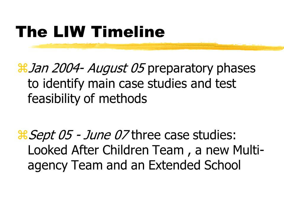 The LIW Timeline zJan 2004- August 05 preparatory phases to identify main case studies and test feasibility of methods zSept 05 - June 07 three case s