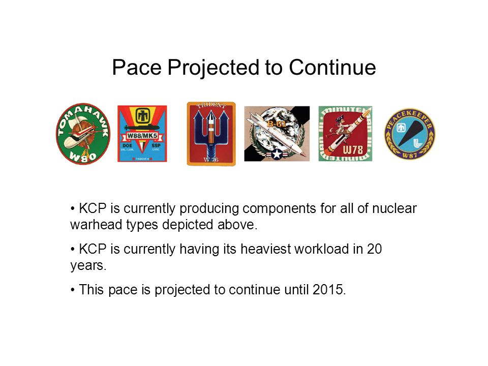 Pace Projected to Continue KCP is currently producing components for all of nuclear warhead types depicted above.