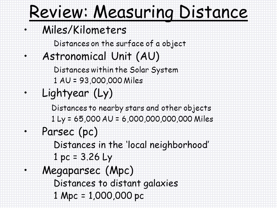 Review: Measuring Distance Miles/Kilometers Distances on the surface of a object Astronomical Unit (AU) Distances within the Solar System 1 AU = 93,00