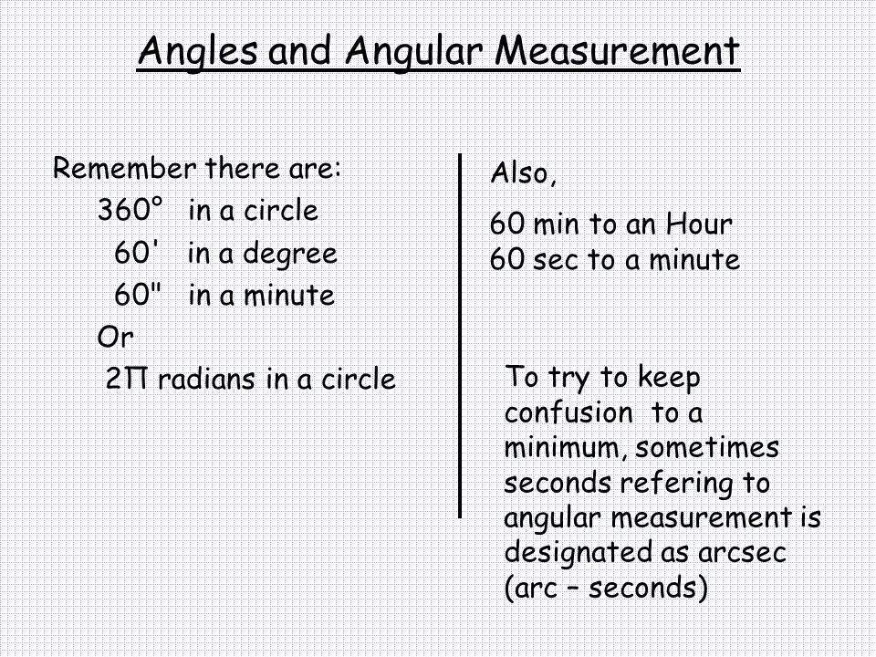 Angles and Angular Measurement Remember there are: 360° in a circle 60' in a degree 60