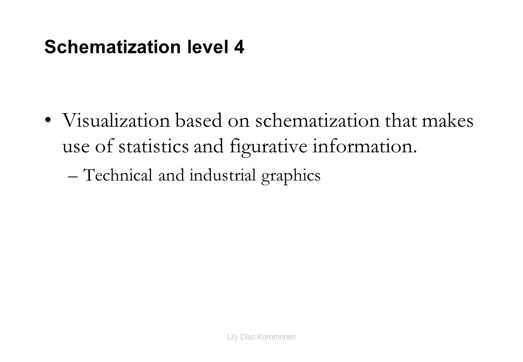 Lily Díaz-Kommonen Schematization level 4 Visualization based on schematization that makes use of statistics and figurative information. –Technical an