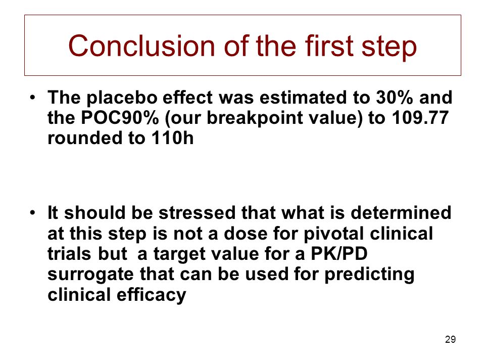 29 Conclusion of the first step The placebo effect was estimated to 30% and the POC90% (our breakpoint value) to 109.77 rounded to 110h It should be s