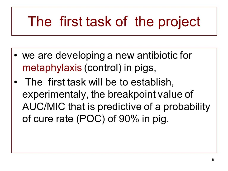 9 The first task of the project we are developing a new antibiotic for metaphylaxis (control) in pigs, The first task will be to establish, experiment