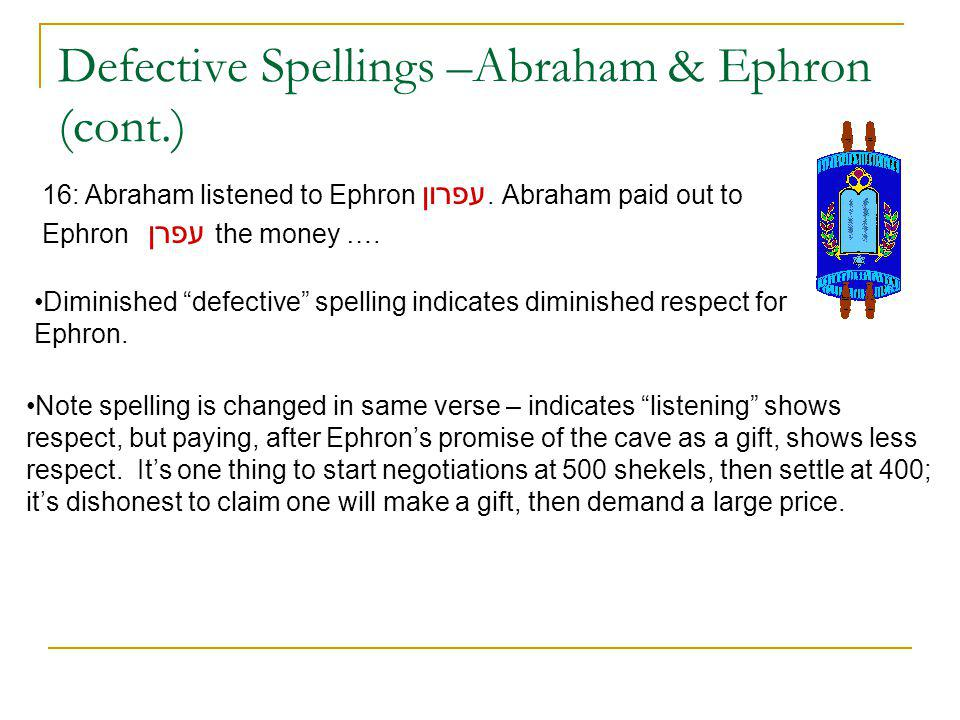 Defective Spellings –Abraham & Ephron (cont.) 16: Abraham listened to Ephron עפרון.