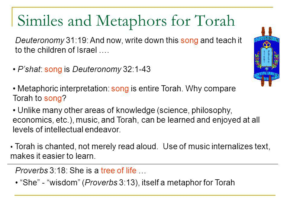 Similes and Metaphors for Torah Proverbs 3:18: She is a tree of life … She - wisdom (Proverbs 3:13), itself a metaphor for Torah Deuteronomy 31:19: An
