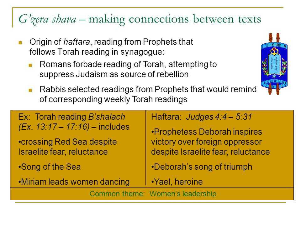 Gzera shava – making connections between texts Origin of haftara, reading from Prophets that follows Torah reading in synagogue: Romans forbade readin