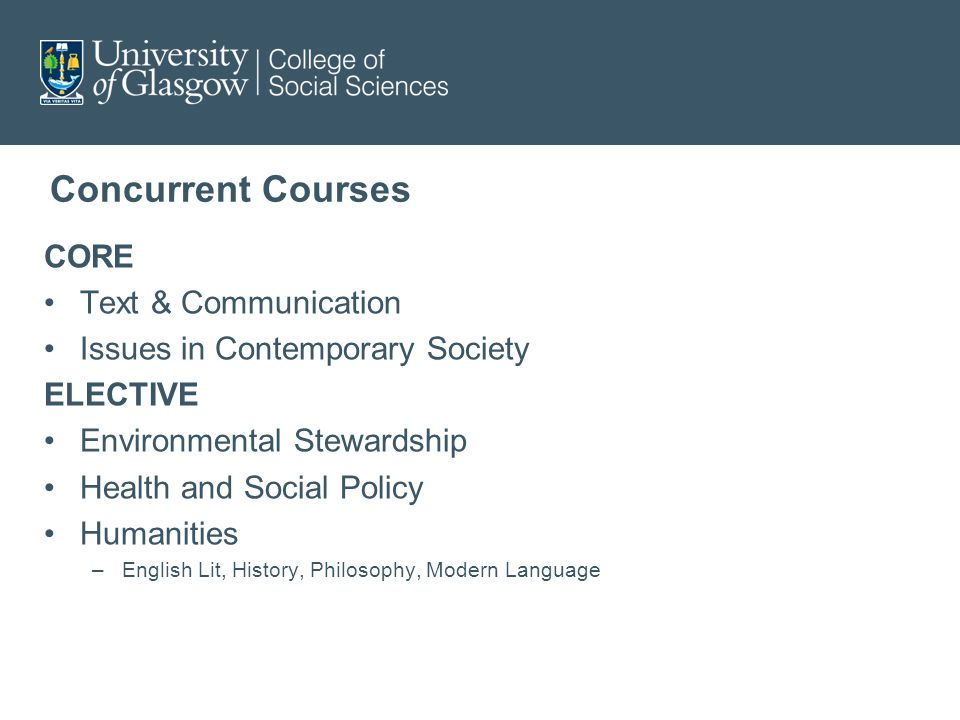 Concurrent Courses CORE Text & Communication Issues in Contemporary Society ELECTIVE Environmental Stewardship Health and Social Policy Humanities –English Lit, History, Philosophy, Modern Language
