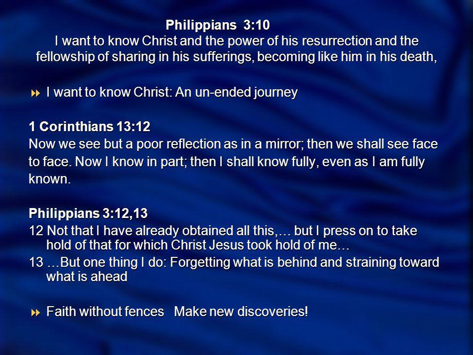 Philippians 3:10 I want to know Christ and the power of his resurrection and the fellowship of sharing in his sufferings, becoming like him in his death, I want to know …the power of his resurrection I want to know …the power of his resurrection Romans 8 - Life to our mortal bodies Romans 8 - Life to our mortal bodies Romans 8:10-11 Romans 8:10-11 10But if Christ is in you, your body is dead because of sin, yet your spirit is alive because of righteousness.